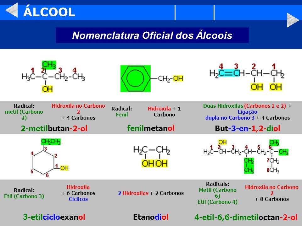 ÁLCOOL Nomenclatura Oficial dos Álcoois 2-metilbutan-2-ol fenilmetanol