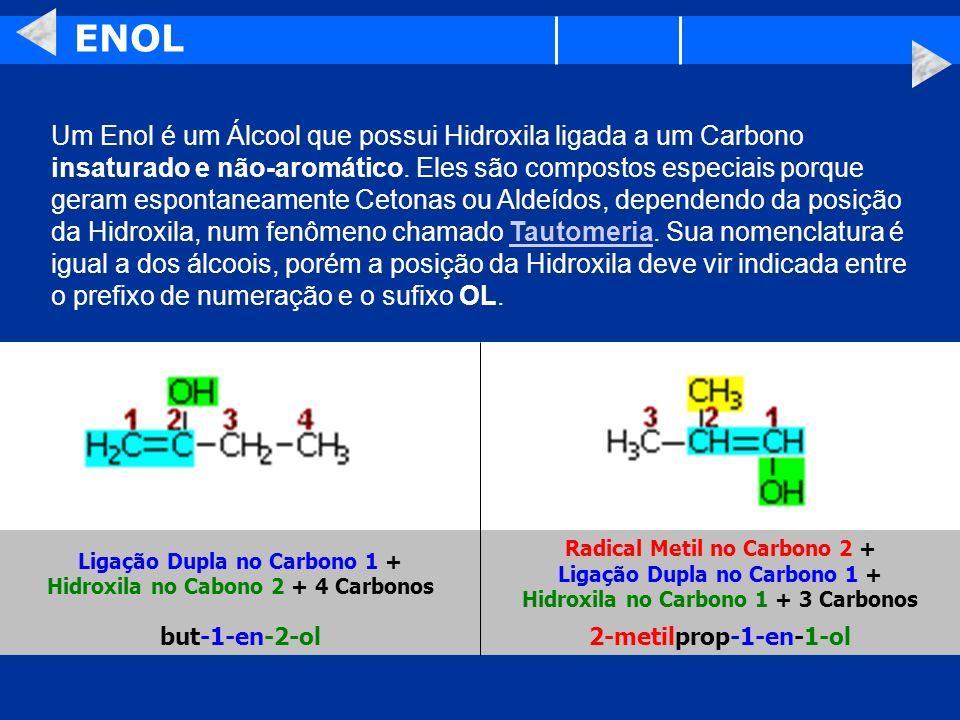 Ligação Dupla no Carbono 1 + Hidroxila no Cabono 2 + 4 Carbonos