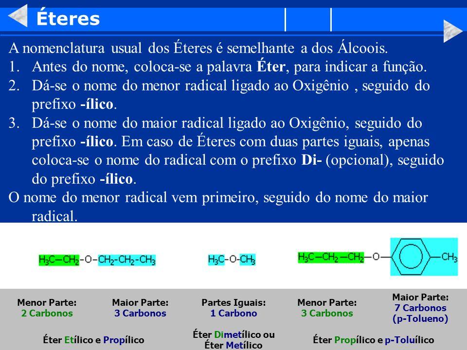 Éteres A nomenclatura usual dos Éteres é semelhante a dos Álcoois.
