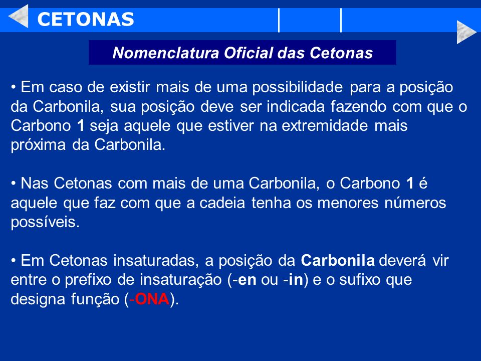 Nomenclatura Oficial das Cetonas