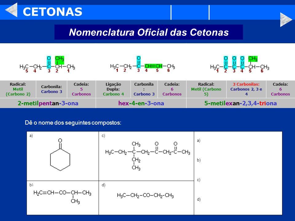 CETONAS Nomenclatura Oficial das Cetonas 2-metilpentan-3-ona