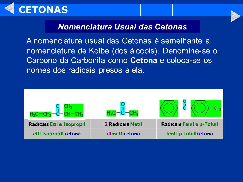 CETONAS Nomenclatura Usual das Cetonas