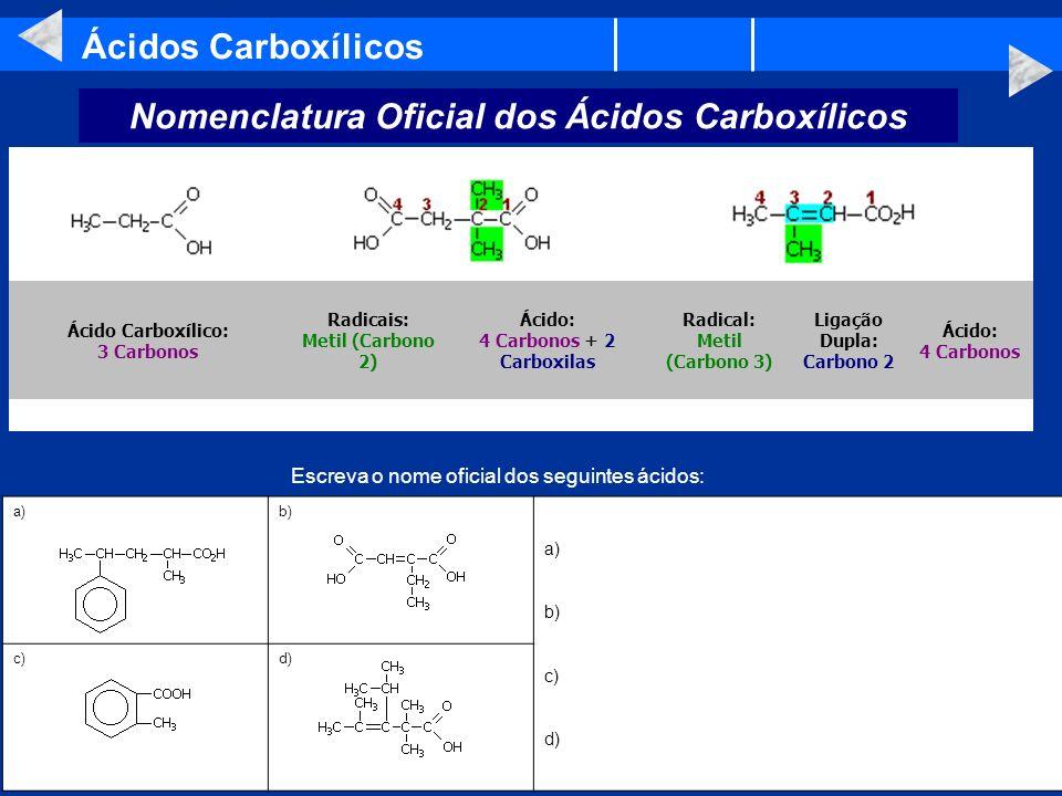 Nomenclatura Oficial dos Ácidos Carboxílicos