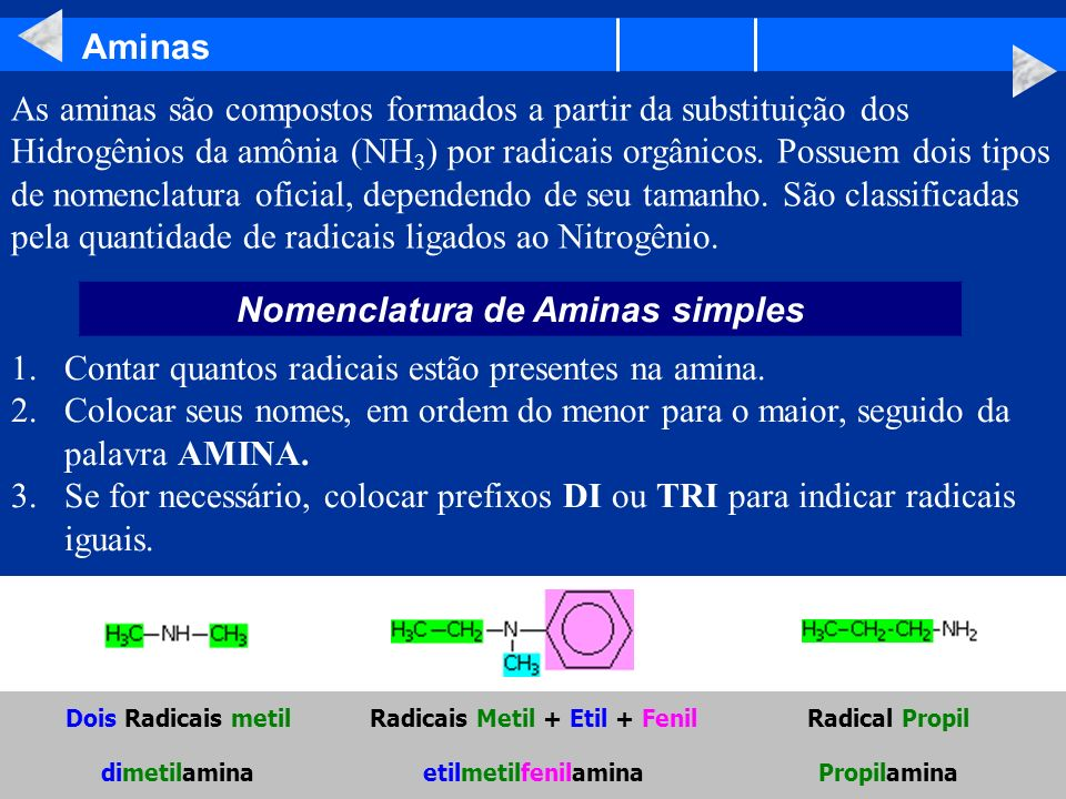Nomenclatura de Aminas simples Radicais Metil + Etil + Fenil