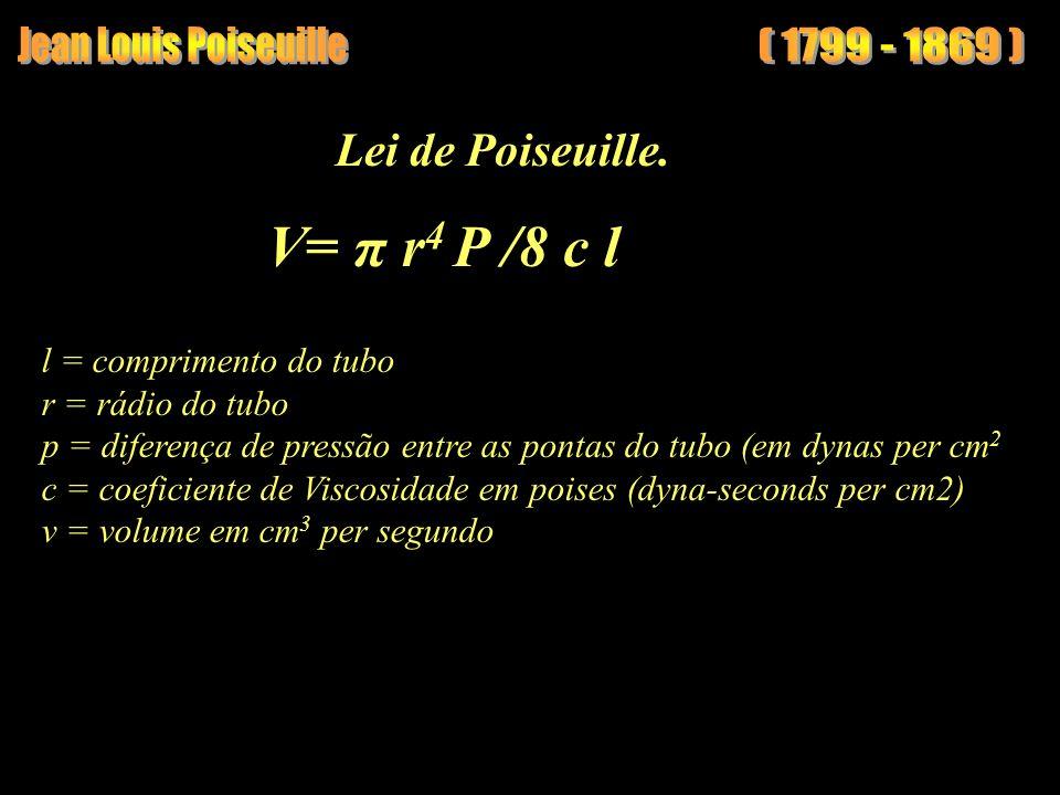 V= π r4 P /8 c l Jean Louis Poiseuille ( 1799 - 1869 )