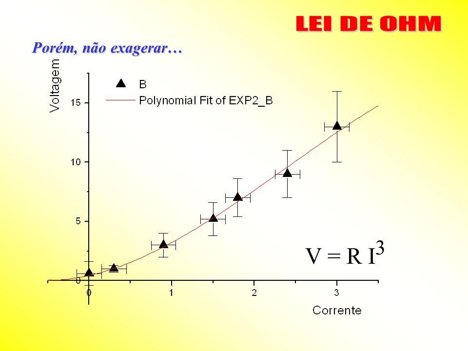 LEI DE OHM Porém, não exagerar… V = R I3