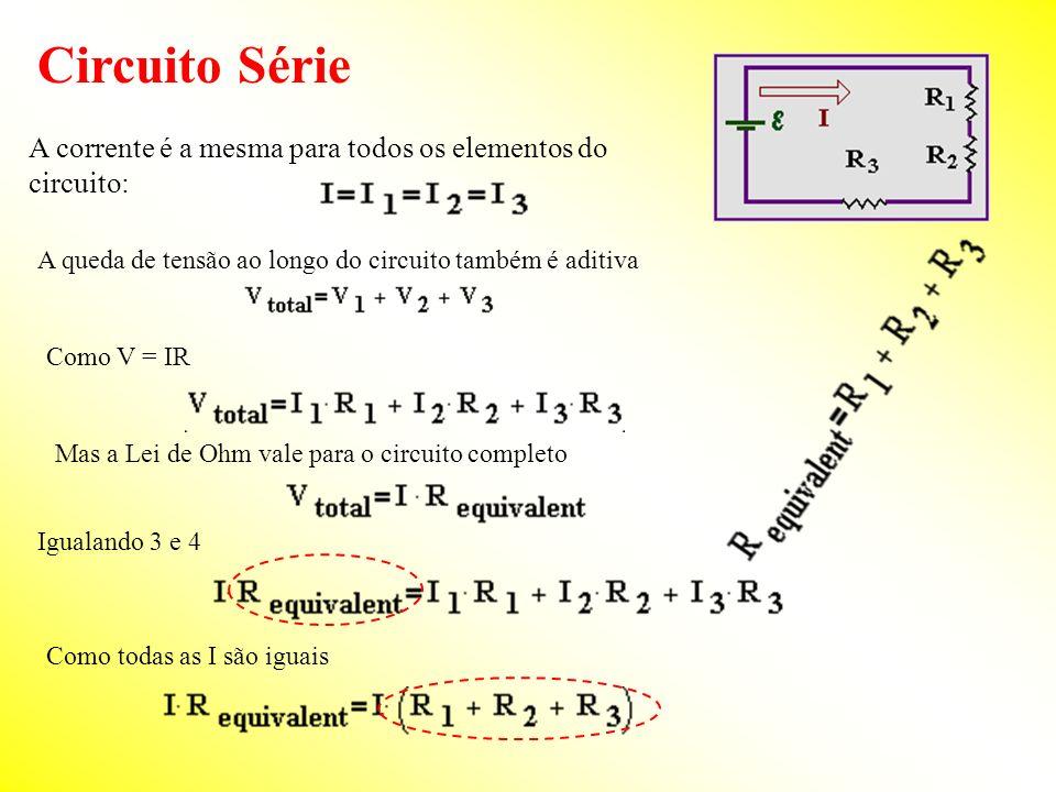Circuito SérieA corrente é a mesma para todos os elementos do circuito: A queda de tensão ao longo do circuito também é aditiva.