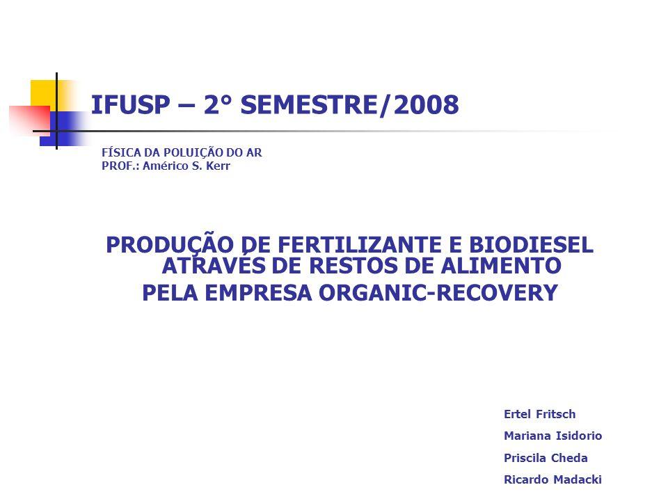 IFUSP – 2° SEMESTRE/2008 FÍSICA DA POLUIÇÃO DO AR. PROF.: Américo S. Kerr. PRODUÇÃO DE FERTILIZANTE E BIODIESEL ATRAVÉS DE RESTOS DE ALIMENTO.