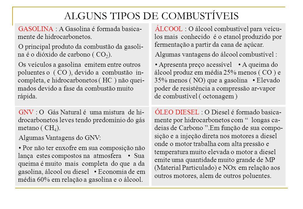 ALGUNS TIPOS DE COMBUSTÍVEIS