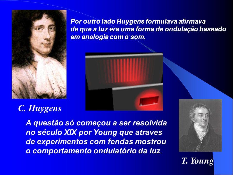 C. Huygens T. Young A questão só começou a ser resolvida