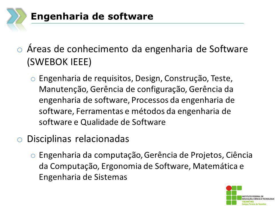 Áreas de conhecimento da engenharia de Software (SWEBOK IEEE)
