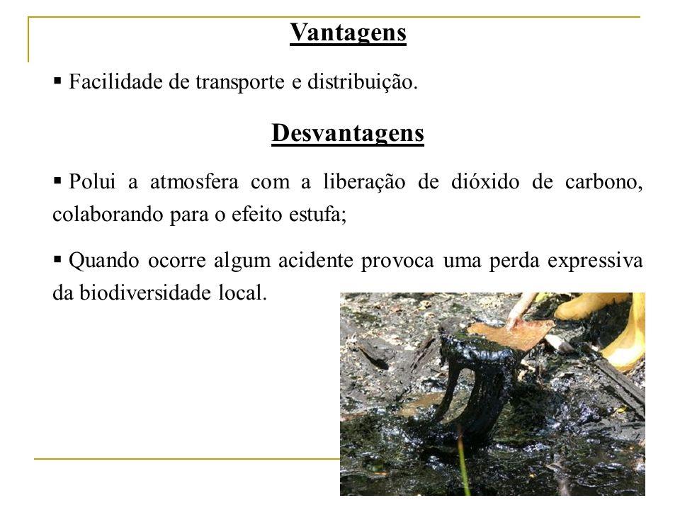 Vantagens Desvantagens Facilidade de transporte e distribuição.