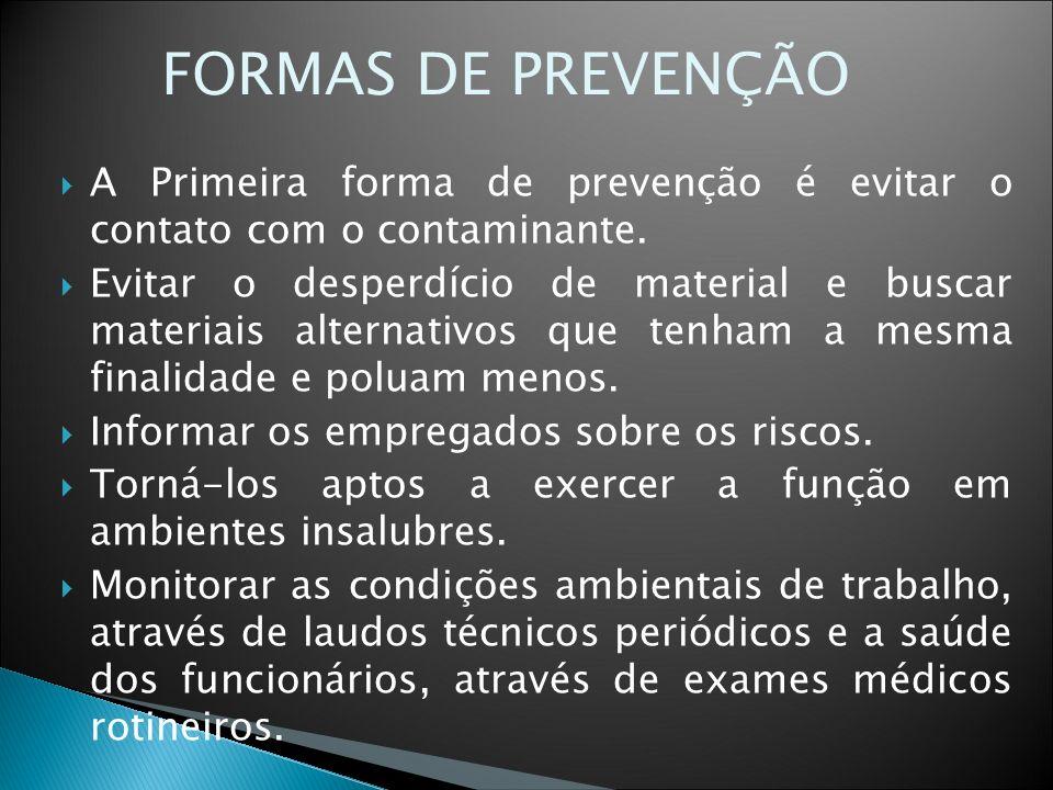 FORMAS DE PREVENÇÃO A Primeira forma de prevenção é evitar o contato com o contaminante.