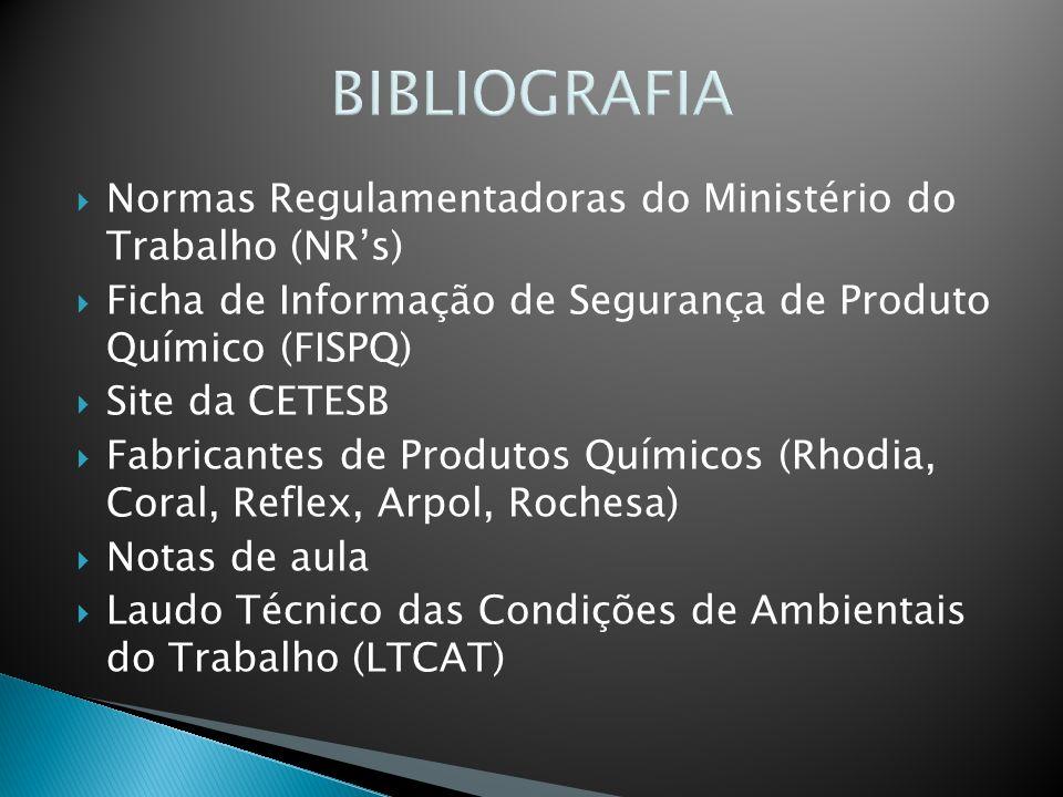 BIBLIOGRAFIA Normas Regulamentadoras do Ministério do Trabalho (NR's)