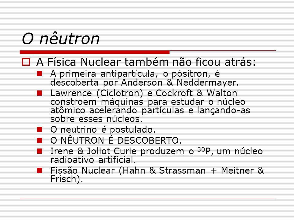 O nêutron A Física Nuclear também não ficou atrás: