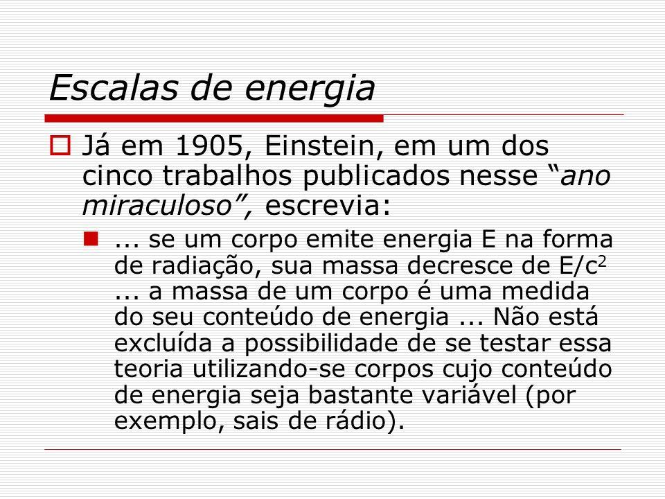 Escalas de energia Já em 1905, Einstein, em um dos cinco trabalhos publicados nesse ano miraculoso , escrevia: