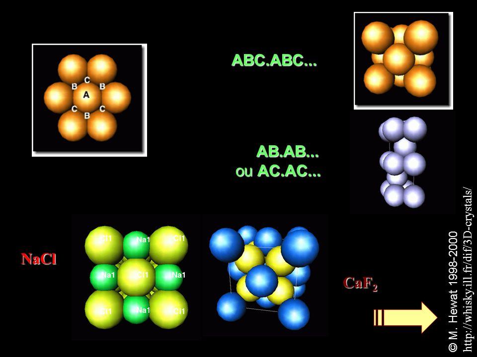 ABC.ABC... AB.AB... ou AC.AC... NaCl CaF2
