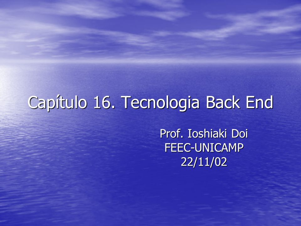 Capítulo 16. Tecnologia Back End