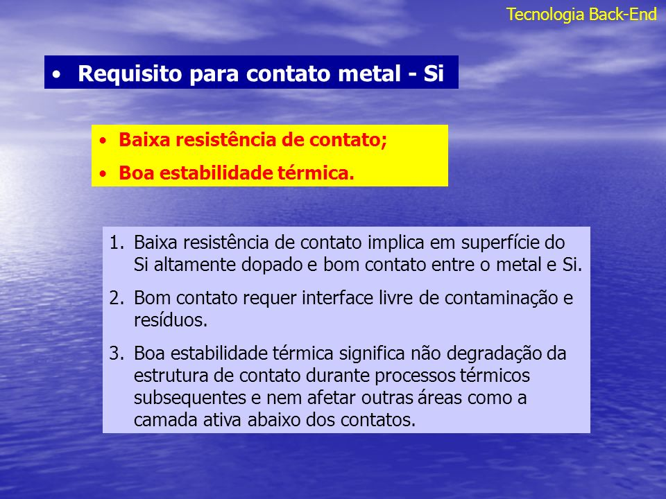 Requisito para contato metal - Si