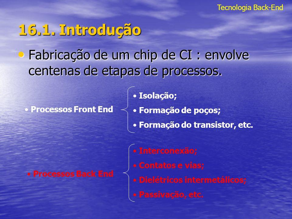 Tecnologia Back-End 16.1. Introdução. Fabricação de um chip de CI : envolve centenas de etapas de processos.