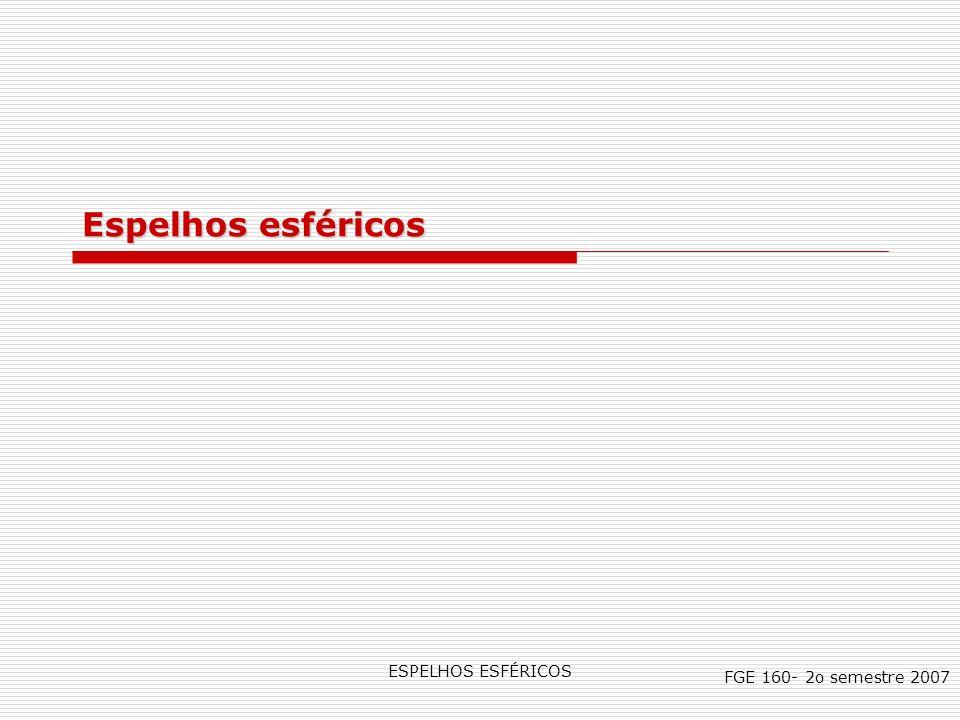 Espelhos esféricos ESPELHOS ESFÉRICOS FGE 160- 2o semestre 2007