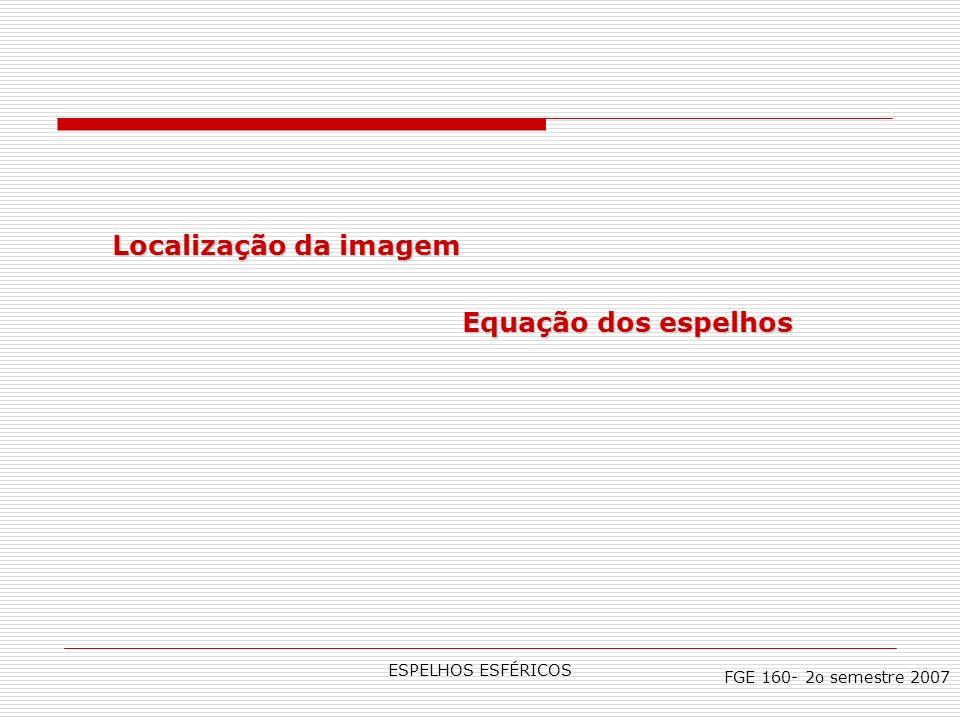 Localização da imagem Equação dos espelhos ESPELHOS ESFÉRICOS