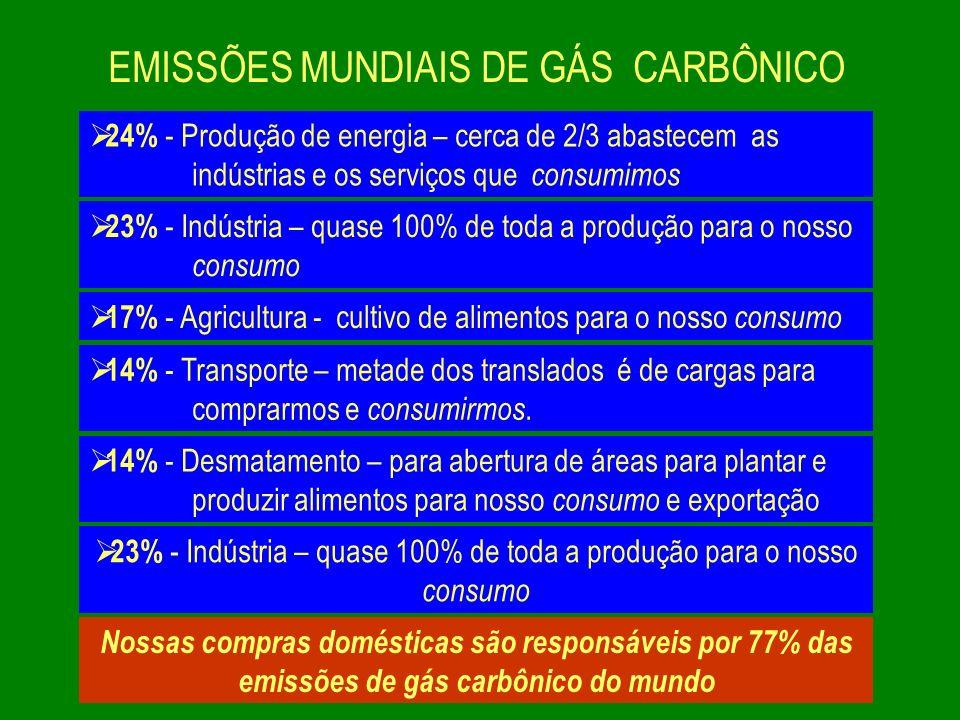 EMISSÕES MUNDIAIS DE GÁS CARBÔNICO
