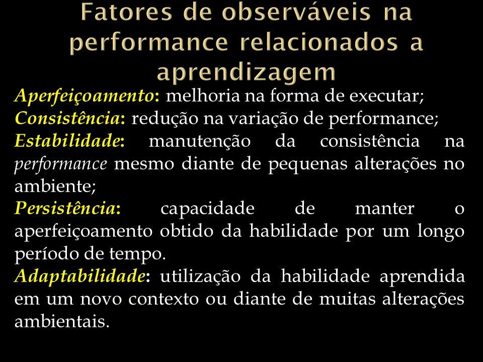 Fatores de observáveis na performance relacionados a aprendizagem