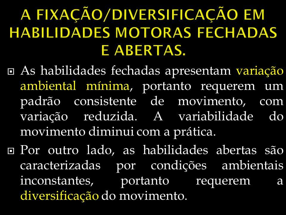 A FIXAÇÃO/DIVERSIFICAÇÃO EM HABILIDADES MOTORAS FECHADAS E ABERTAS.