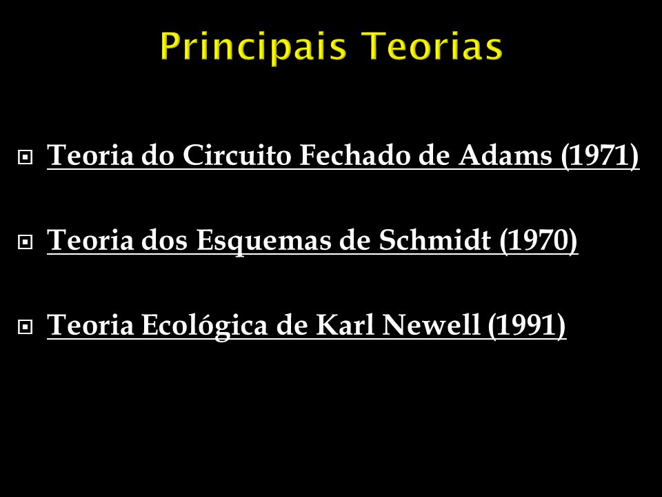 Principais Teorias Teoria do Circuito Fechado de Adams (1971)