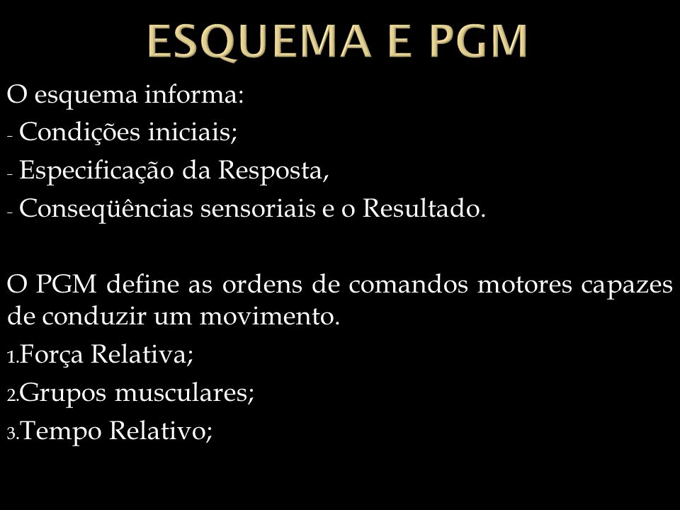 Esquema e PGM O esquema informa: Condições iniciais;
