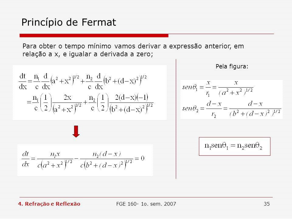 Princípio de FermatPara obter o tempo mínimo vamos derivar a expressão anterior, em relação a x, e igualar a derivada a zero;