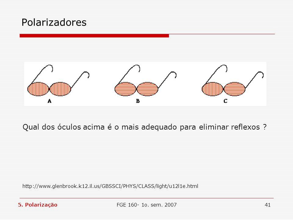 Polarizadores Qual dos óculos acima é o mais adequado para eliminar reflexos http://www.glenbrook.k12.il.us/GBSSCI/PHYS/CLASS/light/u12l1e.html.