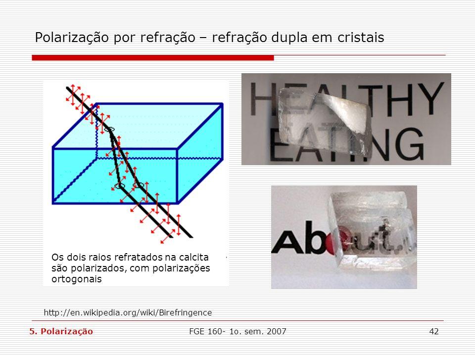 Polarização por refração – refração dupla em cristais