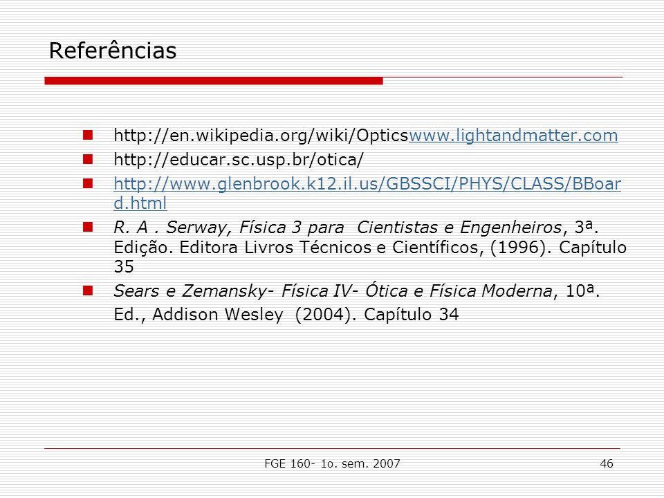 Referências http://en.wikipedia.org/wiki/Opticswww.lightandmatter.com