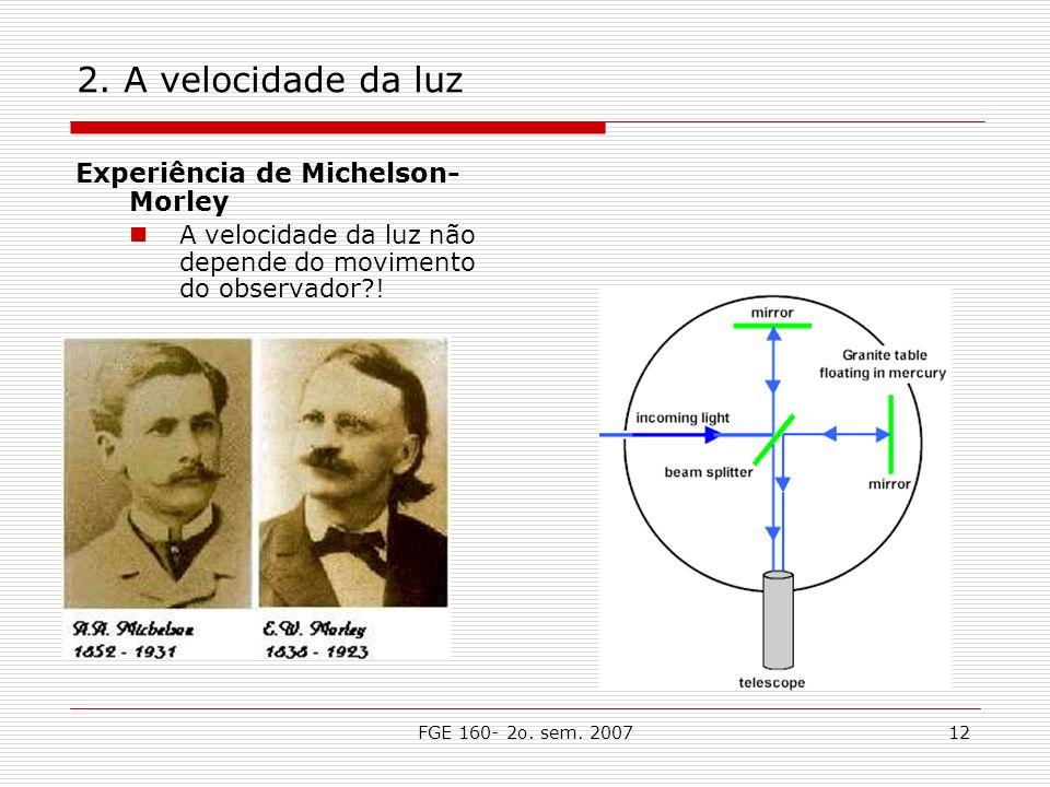2. A velocidade da luz Experiência de Michelson- Morley