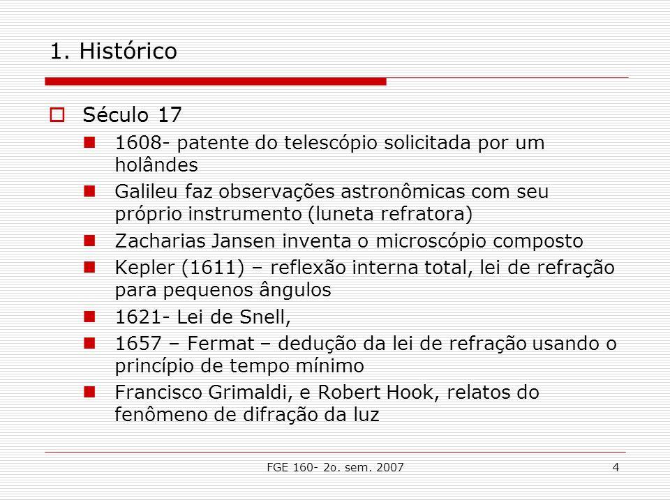 1. Histórico Século 17. 1608- patente do telescópio solicitada por um holândes.