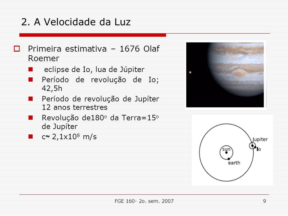 2. A Velocidade da Luz Primeira estimativa – 1676 Olaf Roemer