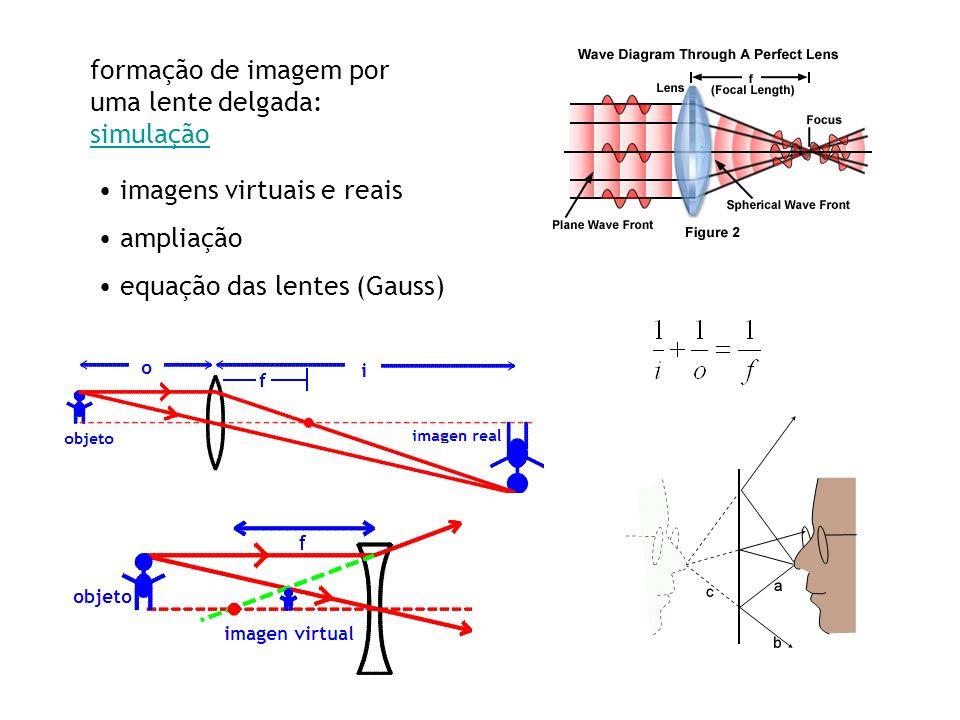 formação de imagem por uma lente delgada: simulação