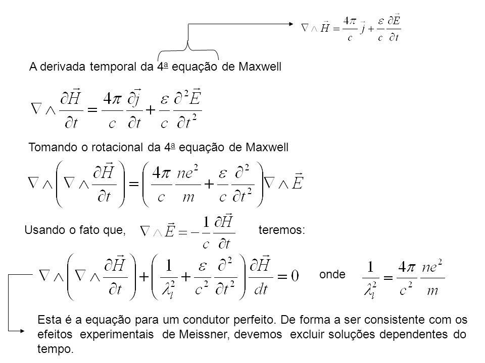 A derivada temporal da 4a equação de Maxwell