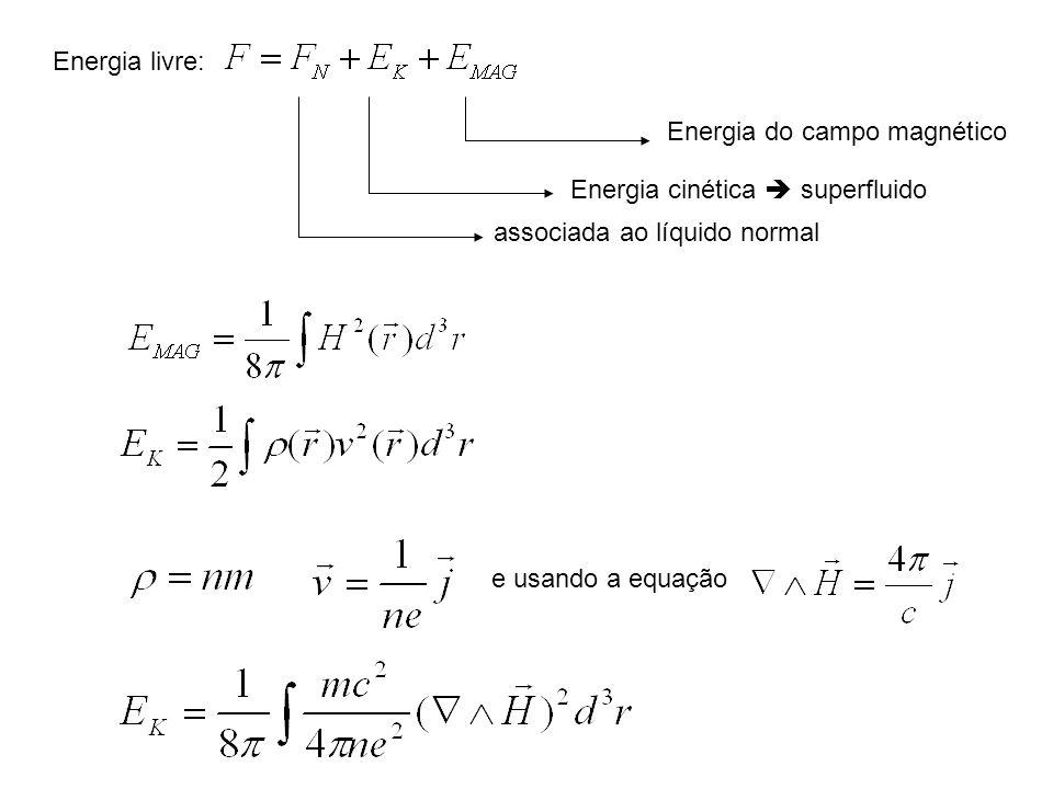 Energia livre: Energia do campo magnético. Energia cinética  superfluido. associada ao líquido normal.