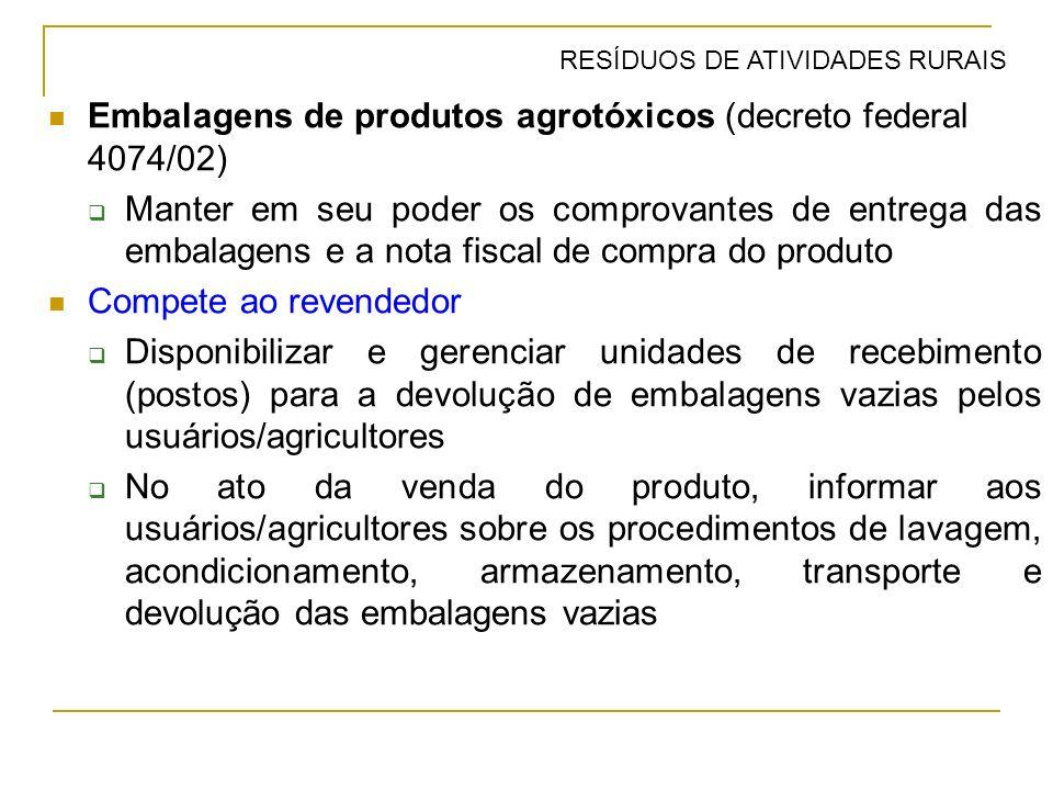 Embalagens de produtos agrotóxicos (decreto federal 4074/02)