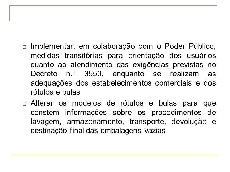 Implementar, em colaboração com o Poder Público, medidas transitórias para orientação dos usuários quanto ao atendimento das exigências previstas no Decreto n.º 3550, enquanto se realizam as adequações dos estabelecimentos comerciais e dos rótulos e bulas