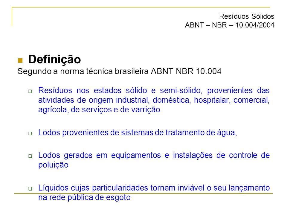 Definição Segundo a norma técnica brasileira ABNT NBR 10.004