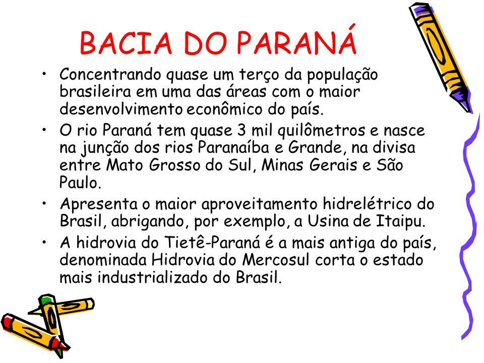 BACIA DO PARANÁ Concentrando quase um terço da população brasileira em uma das áreas com o maior desenvolvimento econômico do país.