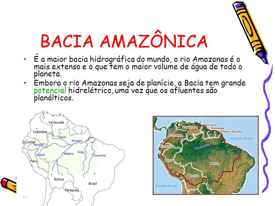 BACIA AMAZÔNICA É a maior bacia hidrográfica do mundo, o rio Amazonas é o mais extenso e o que tem o maior volume de água de todo o planeta.