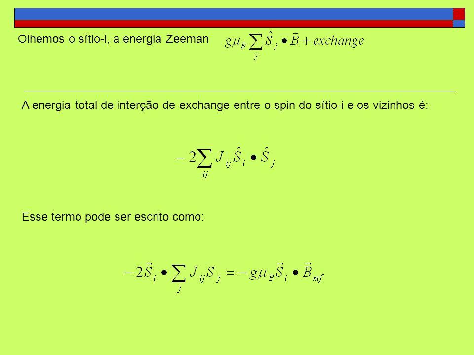 Olhemos o sítio-i, a energia Zeeman