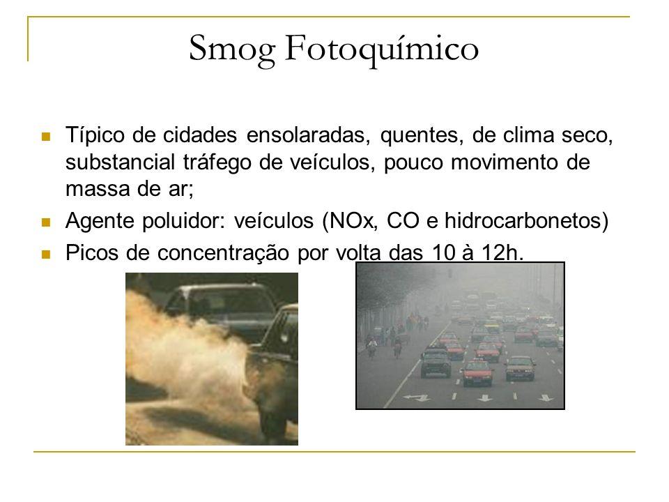 Smog Fotoquímico Típico de cidades ensolaradas, quentes, de clima seco, substancial tráfego de veículos, pouco movimento de massa de ar;