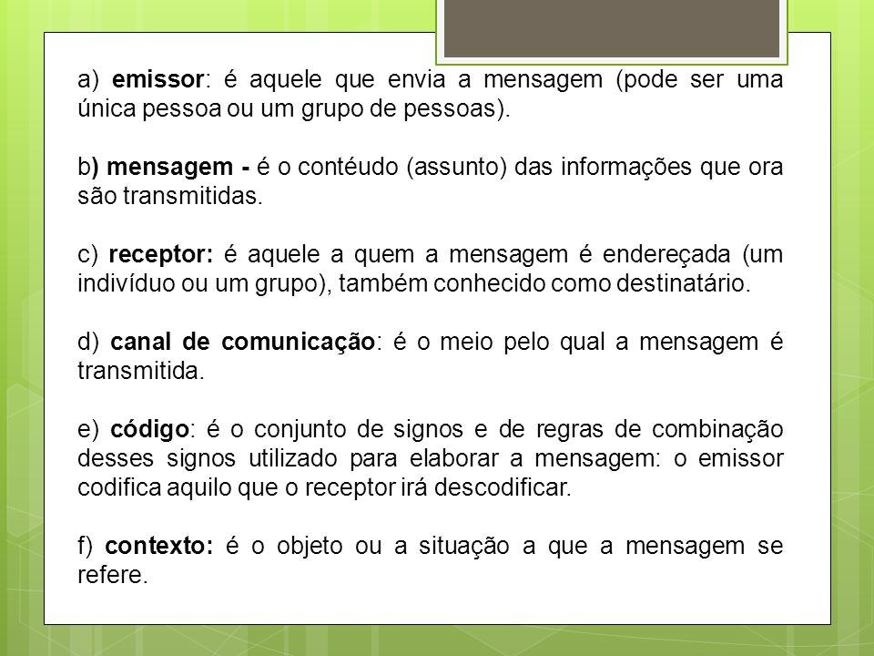 a) emissor: é aquele que envia a mensagem (pode ser uma única pessoa ou um grupo de pessoas).