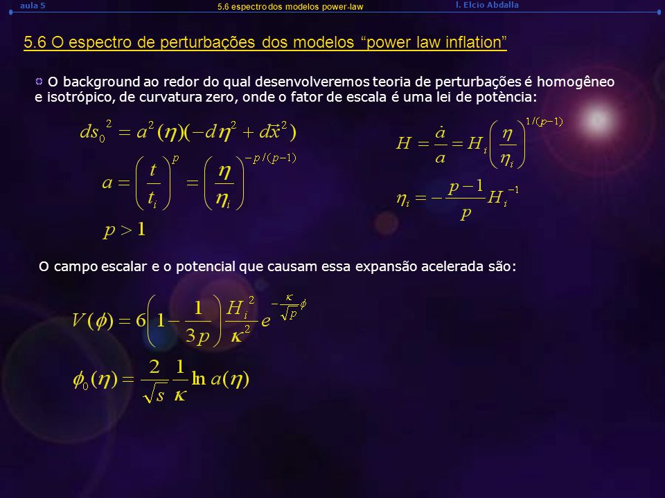 5.6 O espectro de perturbações dos modelos power law inflation